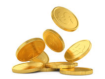 Golden falling coins Royalty Free Stock Image