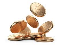 Golden falling coins Stock Photos