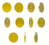 Golden falling coins on white background Stock Image