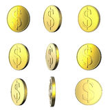 Golden falling coins on white background Stock Photography