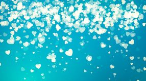 Golden Falling Hearts in Blue Sky. Valentine`s Day abstract background with hearts. Vector illustration Stock Photography