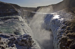 Golden Falls falling into the chasm, Gullfoss waterfall, Iceland. Royalty Free Stock Photos