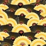 Golden fan seamless pattern stock illustration