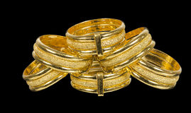 Golden fancy rings Royalty Free Stock Photos