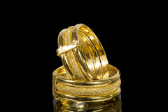 Golden fancy rings Stock Images