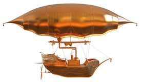 Golden Fantasy Airship Zeppelin Dirigible Balloon 3D illustration isolated on white. 3D illustration Golden Fantasy airship Zeppelin Dirigible balloon isolated Stock Image
