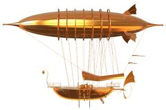 Golden Fantasy Airship Zeppelin Dirigible Balloon 3D illustration isolated on white. 3D illustration Golden Fantasy airship Zeppelin Dirigible balloon isolated Royalty Free Stock Photography