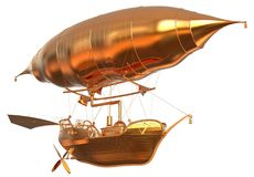 Golden Fantasy Airship Zeppelin Dirigible Balloon 3D illustration isolated on white. 3D illustration Golden Fantasy airship Zeppelin Dirigible balloon isolated Stock Photos