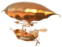 Golden Fantasy Airship Zeppelin Dirigible Balloon 3D illustration isolated on white. 3D illustration Golden Fantasy airship Zeppelin Dirigible balloon isolated Stock Photo