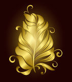 Golden Feather decorative bird on a black background. Illustration Stock Photo