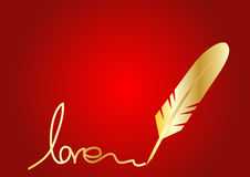 Golden Feather quill Royalty Free Stock Photography