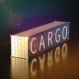 Golden 40 feet cargo shipping container high quality 3d render background illustration Royalty Free Stock Photo
