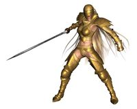 Golden Female Fantasy Warrior - fighting pose Royalty Free Stock Photo
