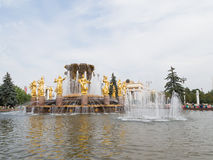 Golden female sculpture fountain, Moscow Royalty Free Stock Image