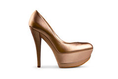 Golden female shoe-1 Stock Photography