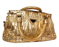 Golden feminine bag Stock Photo