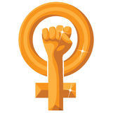 Golden feminist symbol isolated on white Stock Photo