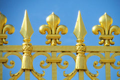 Golden fence with needles ornaments Stock Photos