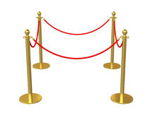 Golden fence, stanchion with red barrier rope. Isolated on white background. 3D illustration Royalty Free Stock Images