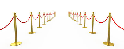Golden fence, stanchion with red barrier rope Royalty Free Stock Photos
