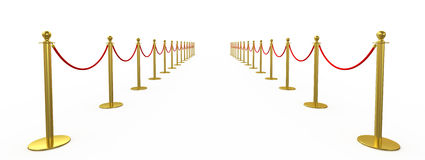 Golden fence, stanchion with red barrier rope Stock Photos