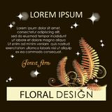 Golden fern. Flowering forest fern at night. Poster, label, blooming fern with place for text. The image can be used in perfumes, florists Stock Photo