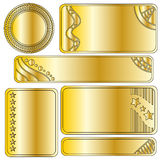 Golden festive banner or button collection. Over white background Royalty Free Stock Images