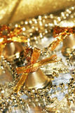 Golden festive bells Royalty Free Stock Photography