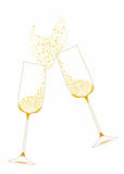 Golden festive champagne glasses. With decorative elements Royalty Free Stock Photo