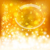 Golden festive Christmas background with snowflakes and sparklin Royalty Free Stock Image