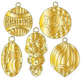 Golden festive Christmas baubles. With stripes and stars Stock Photography