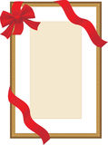 Golden festive frame with red ribbon Stock Image