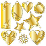 Golden festive graphics and tag collection. Over white background Royalty Free Stock Image