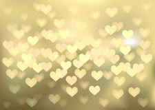 Golden festive lights in heart shape, vector Royalty Free Stock Image