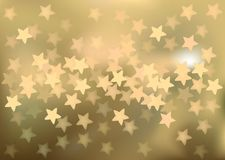 Golden festive lights in star shape, vector. Vector background defocused festive lights, no size limit Royalty Free Stock Images