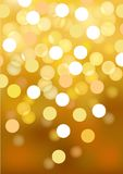 Golden festive lights, vector background. Royalty Free Stock Photo