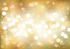 Golden festive lights, vector background. Royalty Free Stock Photography