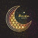 Golden Festive Ramadan crescent moon, stars. Greeting card. Royalty Free Stock Image