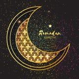Golden Festive Ramadan crescent moon, stars. Greeting card. Royalty Free Stock Photography