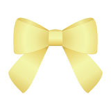 Golden festive tied bow made from ribbon. Isolated on white Background Stock Photography