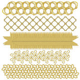 Golden festive trim or border collection. Over white background Royalty Free Stock Images