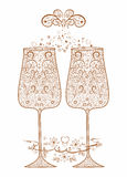 Golden festive wedding glasses. With decorative pattern Stock Photography