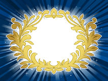 Golden festive wreath on star burst background Royalty Free Stock Photos