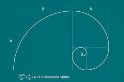 Golden Fibonacci spiral ratio. Vector illustration of Fibonacci spiral with basic golden ratio formula. All the characters are separate, Everything is grouped Royalty Free Stock Photo