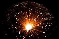 Golden fibre optic strands. Royalty Free Stock Photography