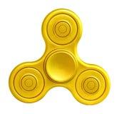 Golden fidget spinner on white background. Stock Image