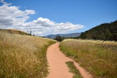 Trail through a field going back toward mountains royalty free stock photo