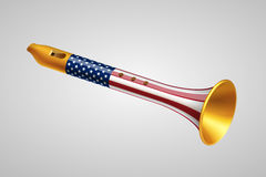 Golden fife with USA flag. On gray background. Foreign policy of USA concept Royalty Free Stock Image