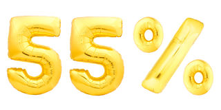 Golden fifty five 55 percent. Made of inflatable balloons isolated on white background. One of full percentage set Stock Images