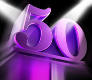 Golden Fifty On Pedestal Displays Movie Awards Or Recognition Royalty Free Stock Photography